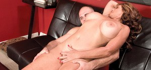 Sheri Fox undressing for young man before getting wild with his cock