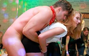 European chicks get wild and crazy over male strippers at bachelorette party