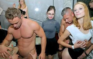 Clothed females get drunk at a party and do nasty things with male strippers