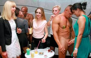 Euro females at a bachelorette party can't keep hands of of male strippers