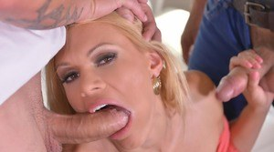 Sexy blonde Kitana Lure moans in pleasure as she does a hard DP fuck