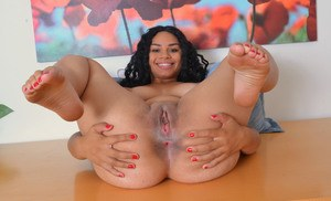 Pretty black first timer Millie Stone shows pink pussy on top her desk