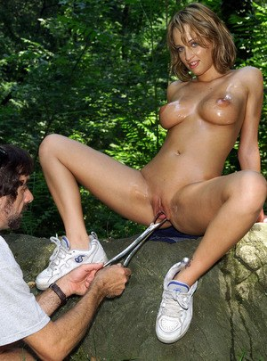 European amateur angel with fake boobs pissing and getting pussy explored