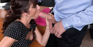 Tight mature cutie with small tits gets fucked by a younger dude in the office