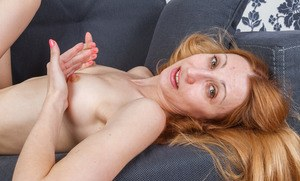 Mature blonde with tiny tits plays a hot solo showing off her hairy beaver
