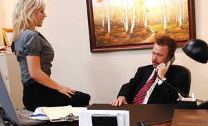 Blonde secretary Velicity Von seduces her boss for sex in his office