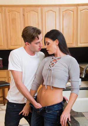 MILF India Summer sucks off her son's buddy after the sparks fly in kitchen