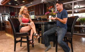Tattooed blonde Sarah Jessie seduces a married guy in short and skimpy top