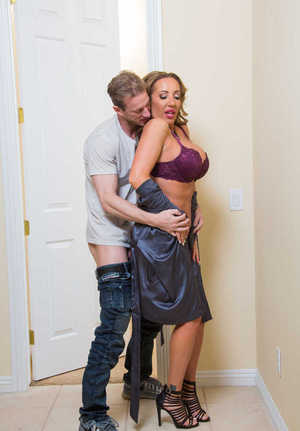 Busty cougar Richelle Ryan gives a younger guy a BJ like he's never had before
