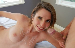Sexy girlfreind Cece Capella gives a hot blow and gets covered with jizz