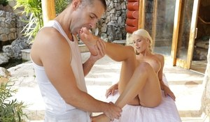 Blonde European pornstar Blanche Bradburry gets feet licked and mouth fucked