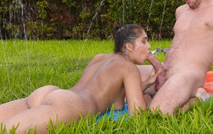 Amateur Latina babe Kitty Catherine gets screwed near a pool gets ass creamed