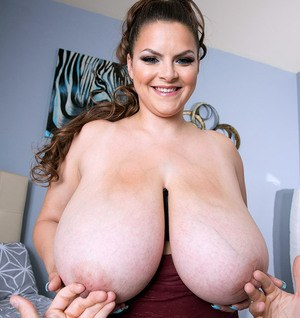 Obese female Alaura Grey whips out her giant boobs for a titty fuck
