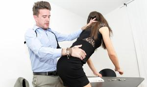 Slutty European office babe gets her snatch eaten, finger fucked and screwed