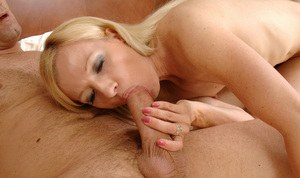 MILF blonde Heidi Hanson gets hairy twat impaled on a dick gets cum in mouth