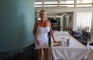 Hot housewife Sandra Otterson lets her knockers loose from short white dress