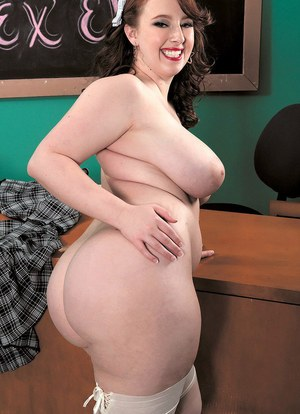 BBW teacher Felicia Clover strips down to white stockings in her sex ed class