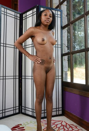 Ebony amateur Brie Dawn delights in showing off her pink pussy in the buff