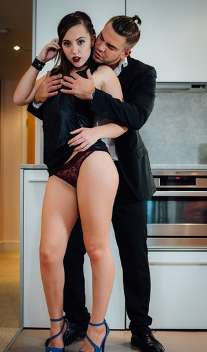 Horny couple gets busy with a hard fuck in kitchen after a dinner date