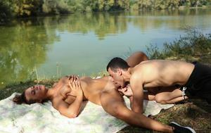 Barely legal teen Naomi Bennet sucks and fucks her bf next to lake