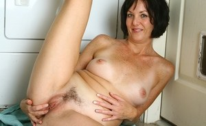 Celeste loves touching her hairy pussy in this slutty mature solo video