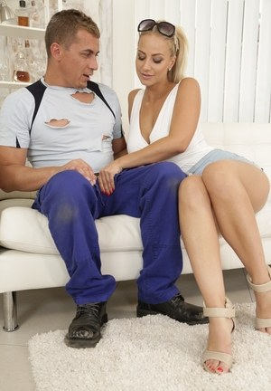 Busty Euro chick Nathaly Cherie seduces a construction worker