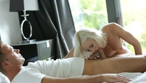 Hot platinum blonde chick Zazie Skymm pleases a dick like only a pornstar can