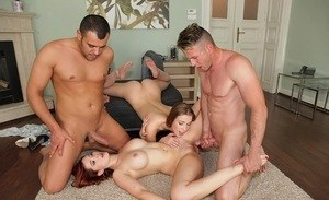 Naked bi girls Angell Summers & Alexis Crystal entice lovers into foursome sex