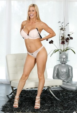 Superb MILF in hot lingerie Alexis Fawx sensual nudity on the couch
