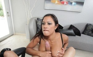 Maxine X loves a heavy cock between her Asian lips in a premium show