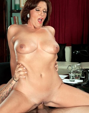 Mature brunette Yasmine Beale fucked by younger man and made to swallow