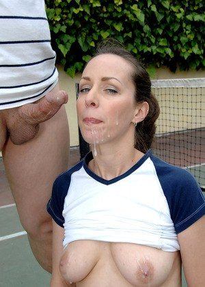 August amazing blowjob in outdoor with her tits exposed for sperm to blast on