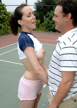August gest tennis trainer to fuck her hairy pussy and fill her mouth