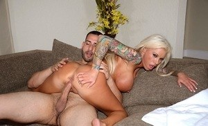 Tatted MILF Lolly Ink seduces a guy for a fuck with her huge boobs