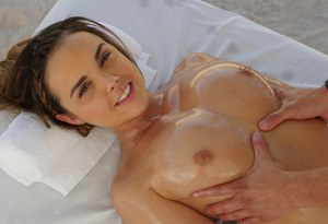 Nude chick Dillion Harper gets all oiled up before fucking her masseur