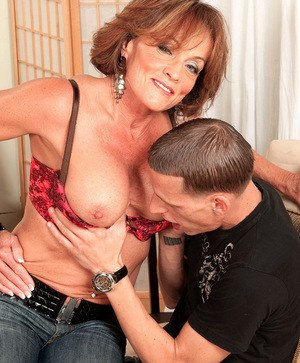 Hot older woman Riley Wayne seduces a guy and has him ass fuck her filthy hole