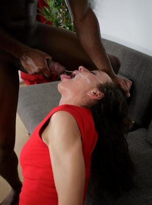 Clothed Euro female Nataly Gold hikes her red dress for deep fucking by a BBC