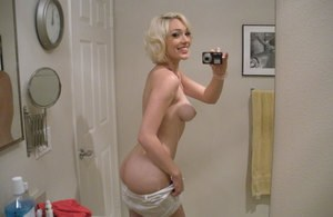 Platinum blonde ex-gf Lily Labeau snaps off nude selfies in bathroom mirror