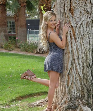 Blonde ex-gf Bella Rose flashes her tits and teen pussy on park sidewalk