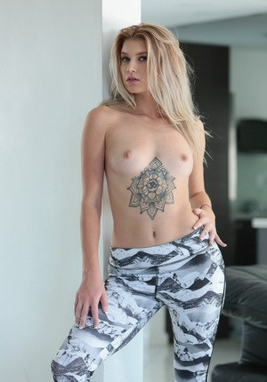 Teen first timer Arya Faye is all tease while stripping for a finger fuck