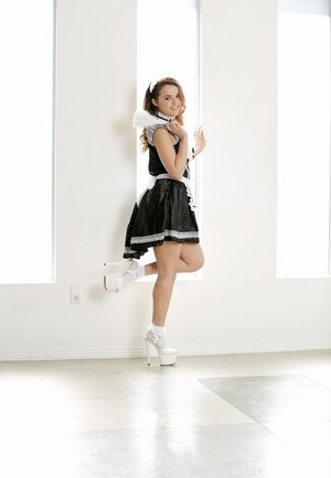 Solo girl Dillion Harper strips off her French maid outfit one piece at a time