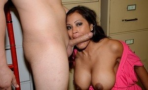 Busty Asian chick Maxine X gives a blowjob in hopes of getting the job