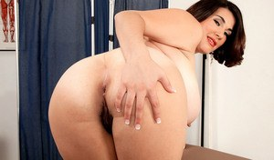 BBW MILF Elaina Gregory peels off her nurse's uniform to masturbate at work