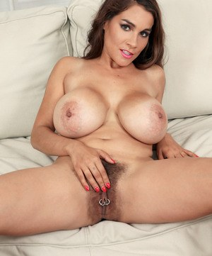 Hairy European MILF squeezes her massive big tits and reveals hairy beaver