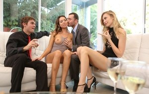 Alexa and Melissa swapping cocks in crazy foursome video