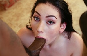 Brunette Aria Alexander meets big black cock to play with in harsh oral scenes