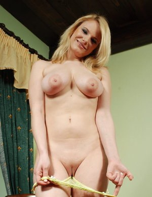 Horny blonde with big tits Tammy gorgeous views of her pussy in slow solo