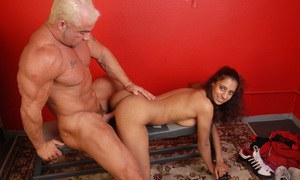 Petite ebony amateur gets her hairy pussy licked and impaled on a white cock