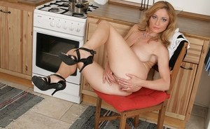 Lovely mature housewife Wanda finger fucks herself and squeezes boobs