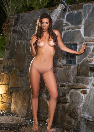 Glamour centerfold Gia Ramey-Gay takes an outdoor shower showing her nudity